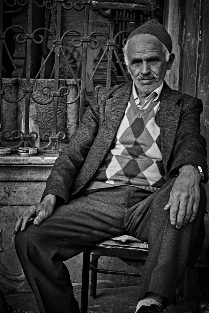 Black and White Street Photo of Man in Instanbul