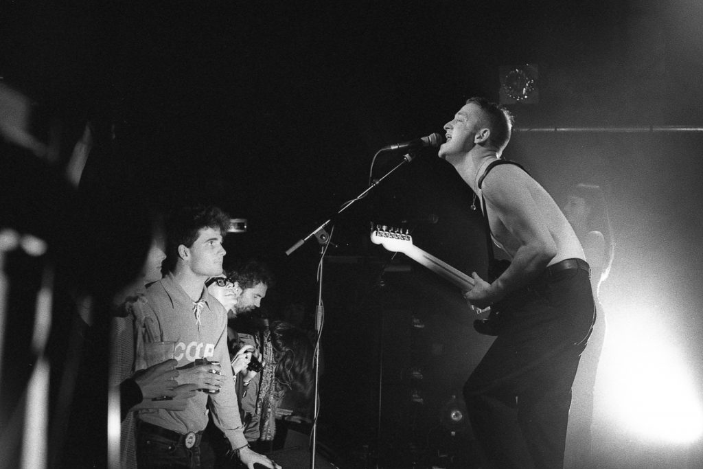 Black and white film photo of The Amazing Scissorheads in concert taken on HP5+
