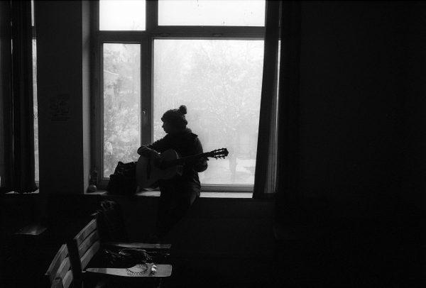 b&w fim shot of Playing-guitar