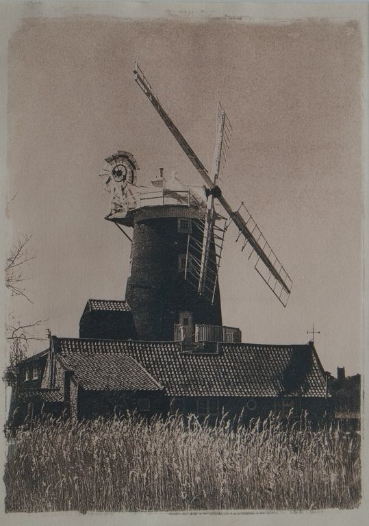 Cley Mill, FP4+ 35mm original, scanned A4 neg made, contact printed using cyanotype method and then toned in tea. #ilfordfridayfavourites