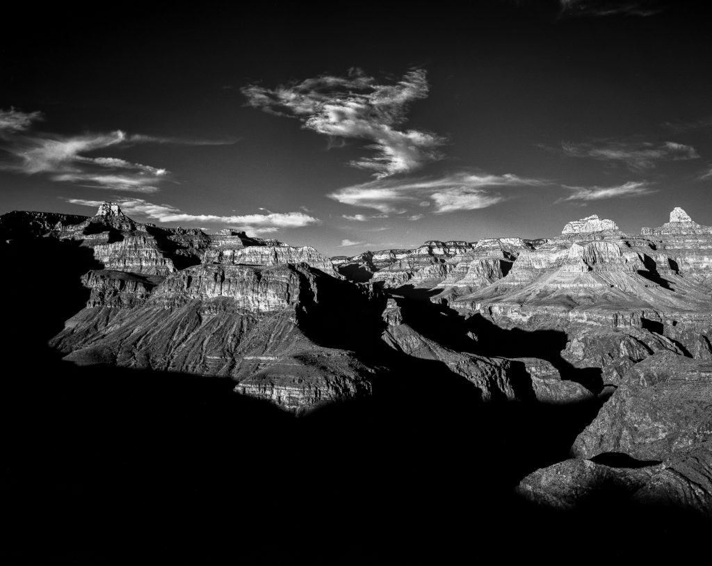 The Grand Canyon at Plateau Point shot on ILFORD 4x5 FP4+ black and white film