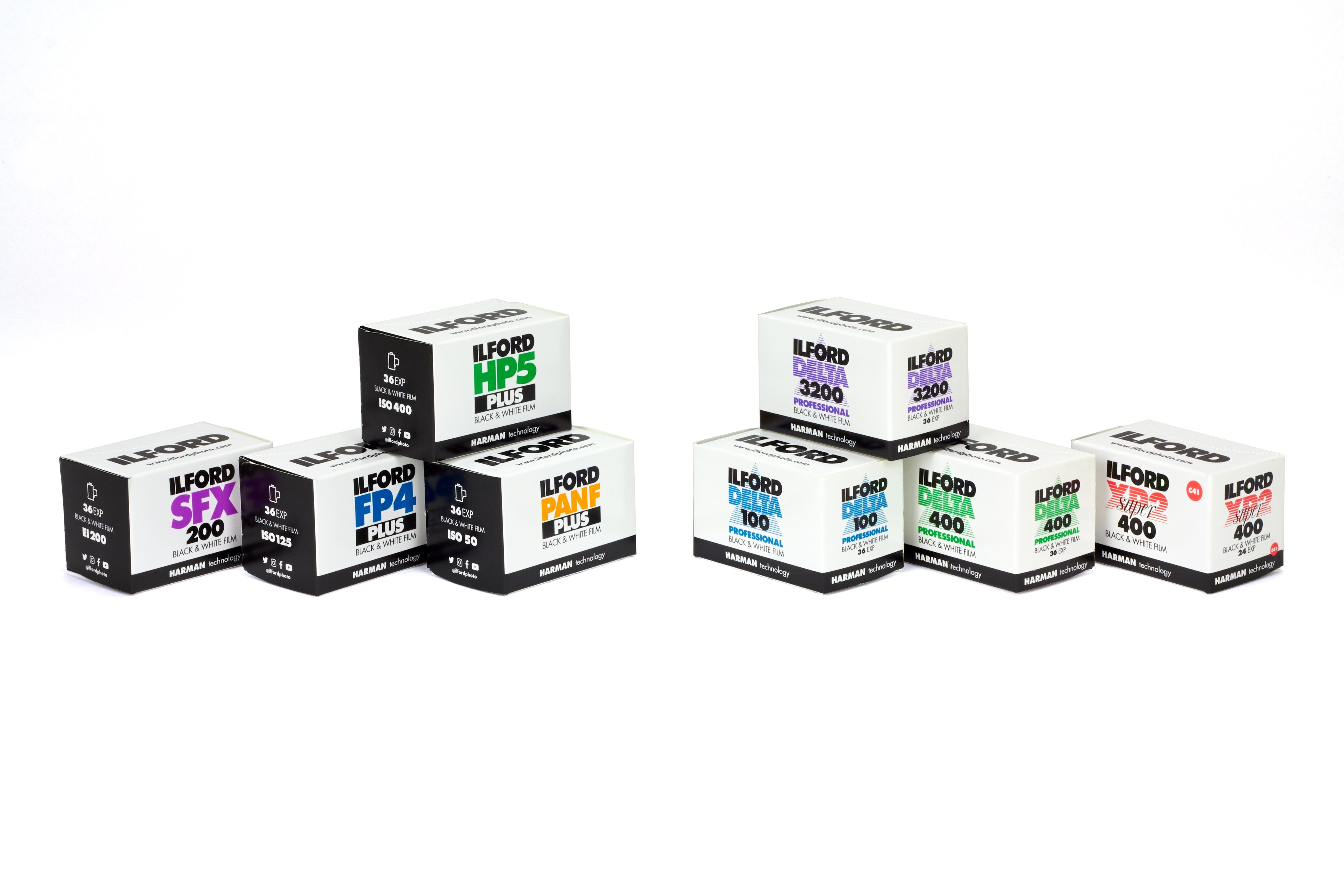 Pack shot of ILFORD PHoto black and white 35mm films in new packaging