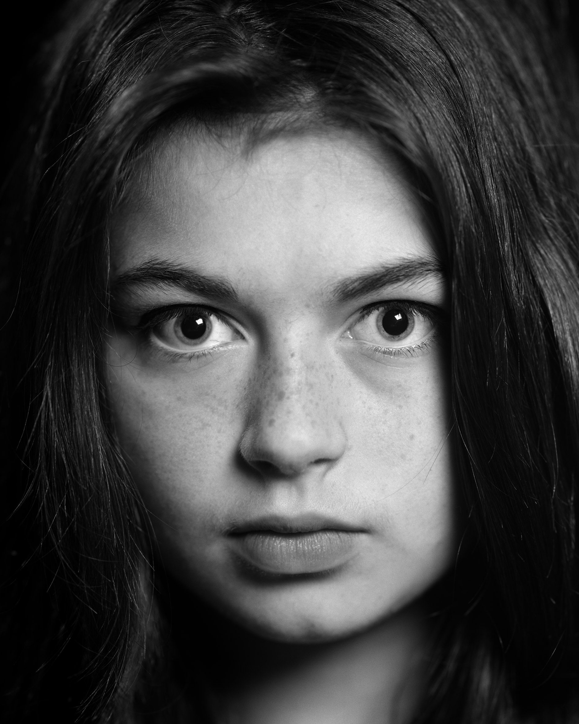 Black and white large format portrait show on ILFORD FP4+ film by Peter Defty as ppart of The Outlaw Project shooting portraits with a large format camera