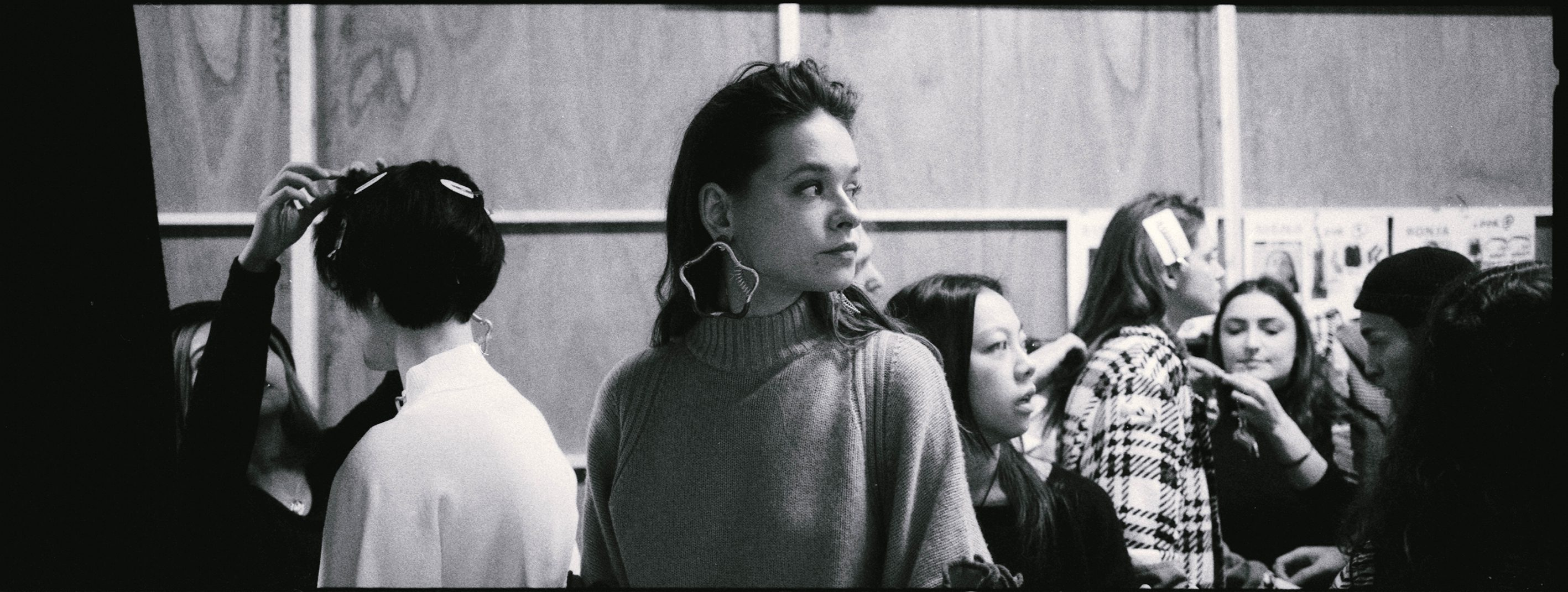 Backstage image from London Fashion week shot by Simon King on black and white ilford DELTA 3200 film
