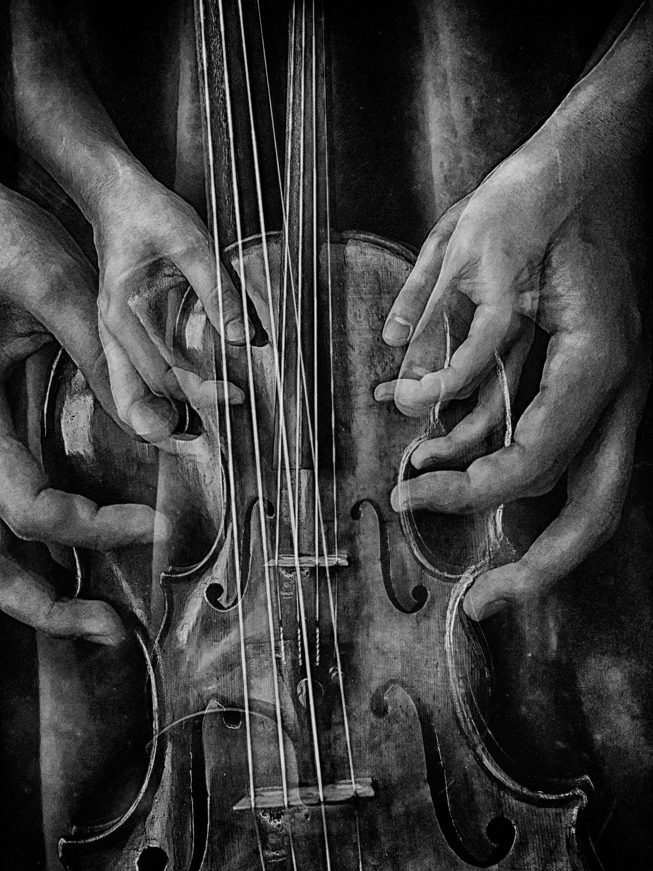 Multi exposure black and white image of Violin shot by Anna Chobotva on Ilford photo film