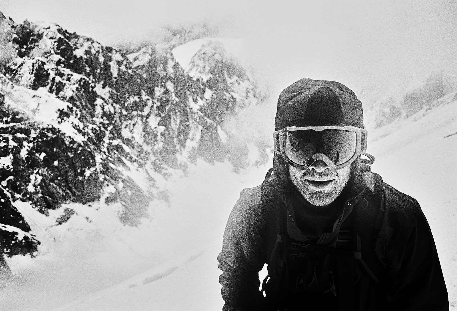 2013, Georgia. Mountain Portrait of Trevor Hunt, Canadian Steep Skiing legend. Chatyn-Tau (4310m) Summit, May 2013. Contax T3, Heliopan yellow filter and Ilford FP4+ (in ID-11 stock). Flextight X1 scan.