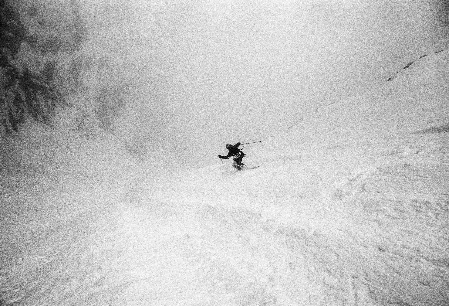 Trevor Hunt during the first ski descent of the Chatyn-Tau SE couloir. Contax T3, Heliopan yellow filter and Ilford FP4+ (in ID-11). Flextight X1 scan.