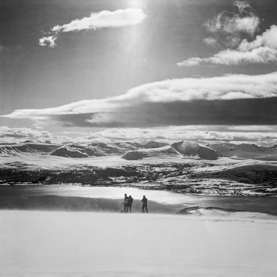 Skitourers near Tromsø, North Norway. Voigtländer Bessa III, B+W yellow filter and Ilford FP4+ (in ID-11). Flextight X1 scan