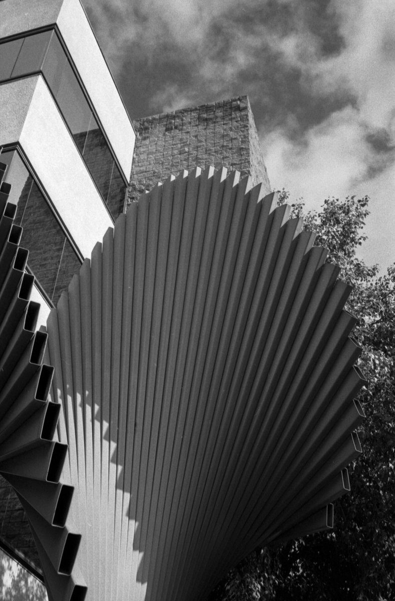jayf6354 Steel sculpture. Bessa T, M Rokkor 40/2, @ILFORDPhoto #hp5 pushed one stop. #believeinfilm #ishootfilm #35mm #filmisnotdead #analogphotography #ilfordphoto #fridayfavourites