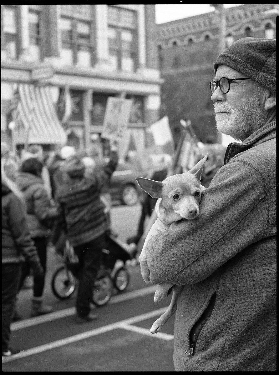 @LoreHealy  Jan 30 Hootlet More #believeinfilm #ilfordphoto #fridayfavourites #street #hp5 Women's March, PT Townsend WA, ?Fuji645zi
