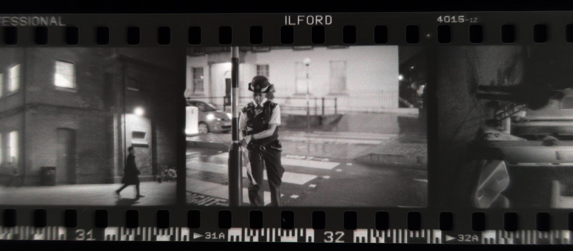 Black and white negative shot on ILFORD Delta 3200 film by Simon King
