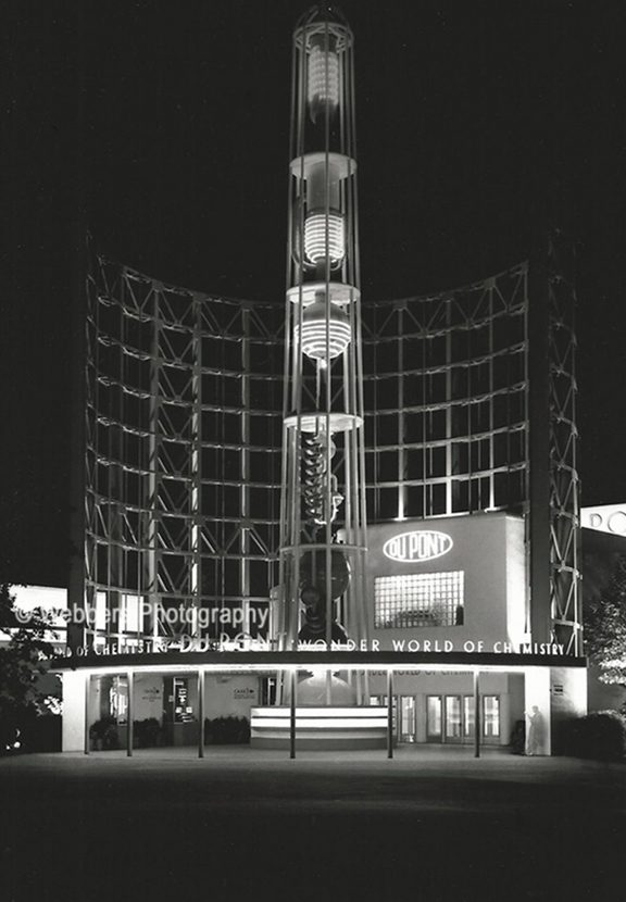 """""""Nite Lab"""" – my Dad's image of the DuPont Pavilion at the 1939 New York World's Fair"""