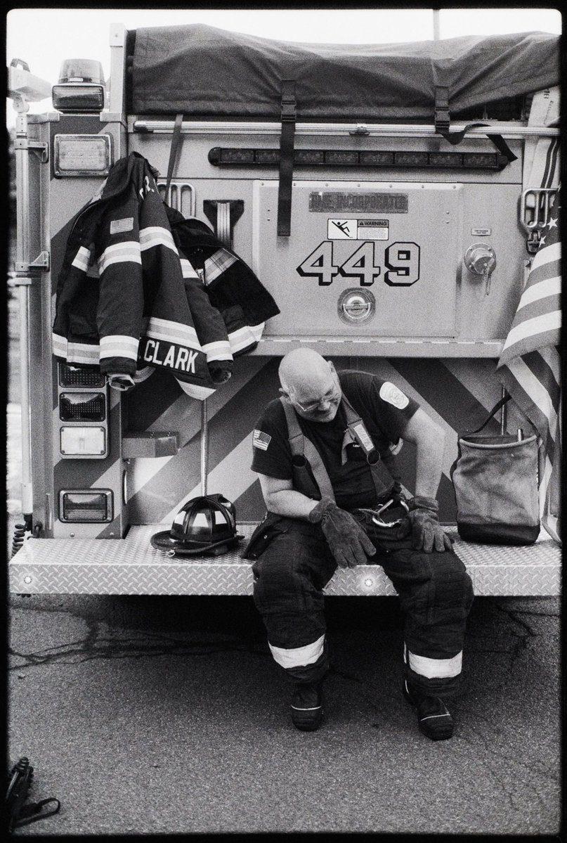 "@MattAngleyPhoto May 5 Hootlet More ""Taking a Blow"" 📷 Canon AE-1 + Canon FD 28mm f/2.8 🎞 Ilford Delta 3200 #Firefighter #fireman #filmphotography #film #believeinfilm #environmentalportrait #blackandwhite #blackandwhitephotography #filmisnotdead #35mm #photography #fridayfavourites #ilforddelta3200 #ilfordfilm"
