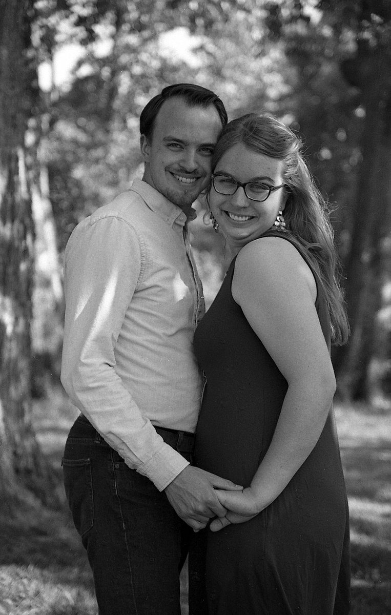 """@DavidNee6 13h13 hours ago Hootlet More @ILFORDPhoto #ilfordphoto #fridayfavourites #plusfilms #ilfordfp4 """"Love is in the Air"""" - From a mini engagement session for our son and his fiance. Canon Elan 7, 50 STM. FP4 in Caffenol CM, 12 minutes@20C. My first roll of FP4 outside of testing. So glad I bought a 100' roll!"""