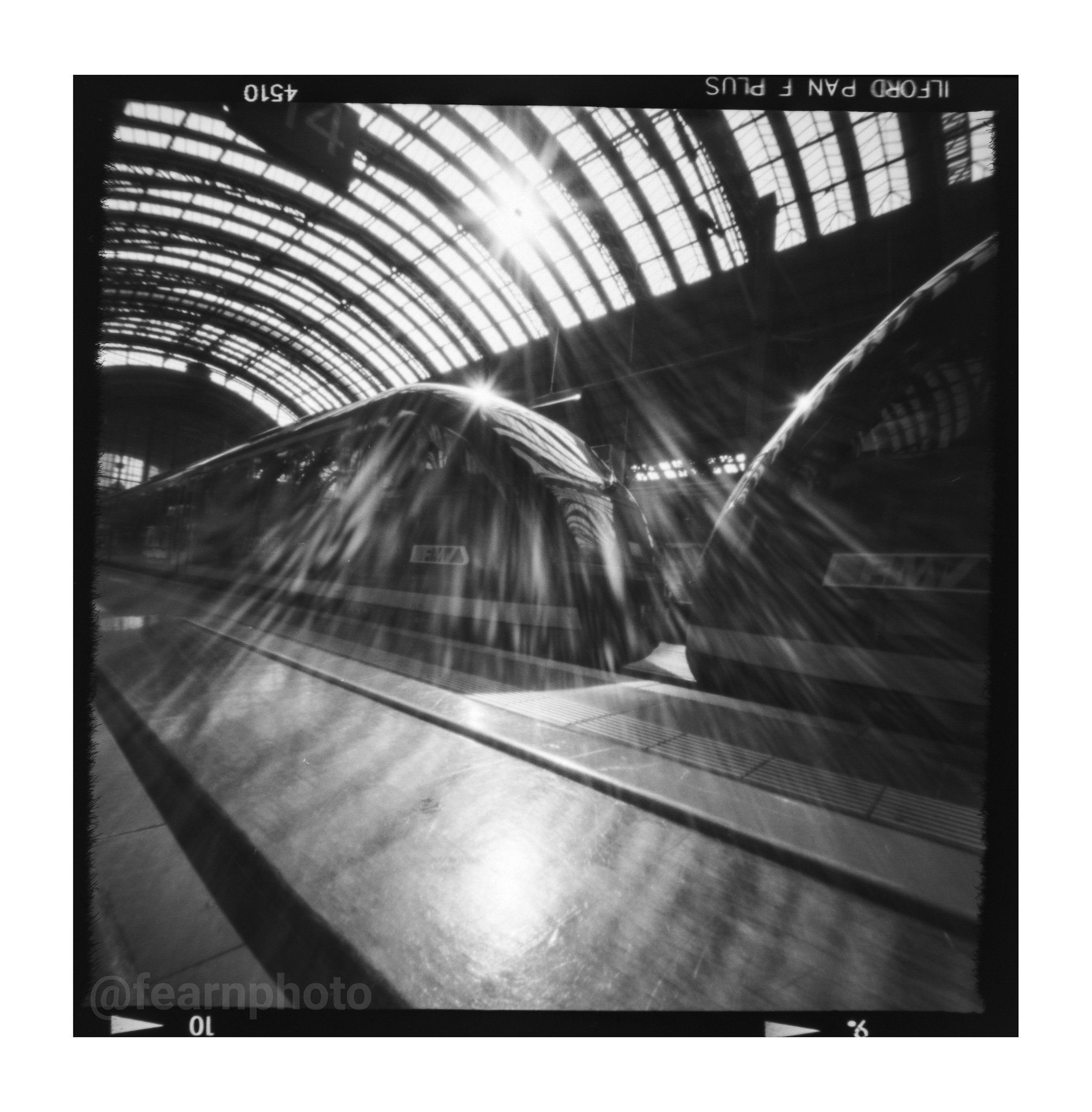 fearnphoto Frankfurt (Main) Hauptbahnhof, July 2019. 16 second exposure with #zeroimage2000 #pinhole camera. #Ilfordphoto PAN F PLUS 50 #ilfordfilm #ilfordpanf #zeroimage #pinholecamera #pinholephotography #lensless #believeinfilm #blackandwhitephotography #mediumformat #6x6film #fridayfavourites #welovefrankfurt #frankfurt @ilfordphoto