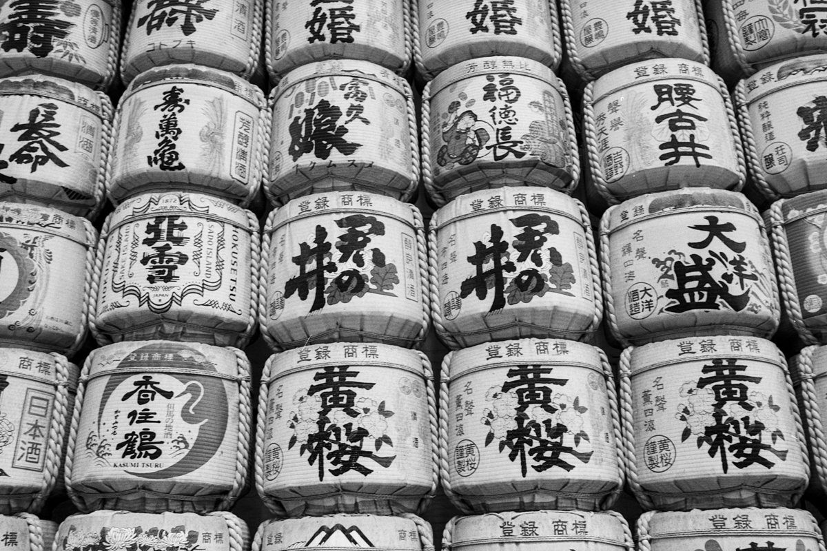@adiw1202 · Oct 3 Sake barrels. #ilford Delta 100 Pro with #Canon EOS-3 and EF 35mm f/2 IS USM lens. #believeinfilm #shootfilmbenice #teamcanon #CanonFavPic #ilfordphoto #patterns #fridayfavourites