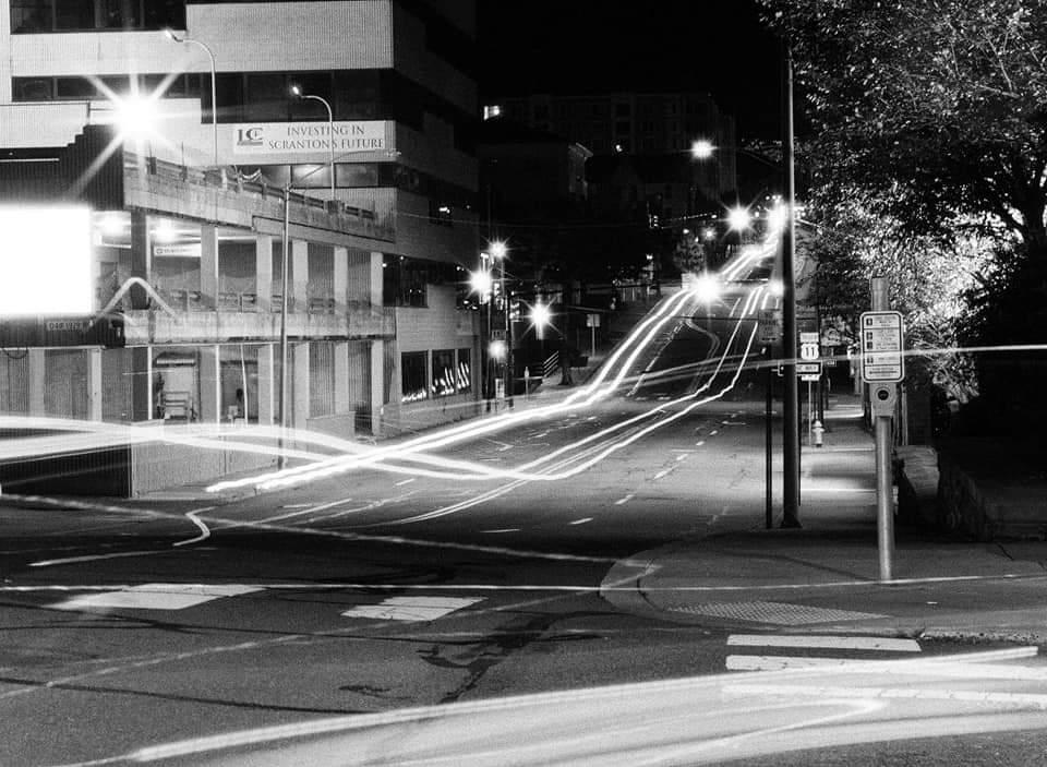 @EYNON33HOUSE · 19h Replying to @ILFORDPhoto #ilforddelta3200 #fridayfavourites The city at night. Scranton, PA. Pentax 645 medium format camera.