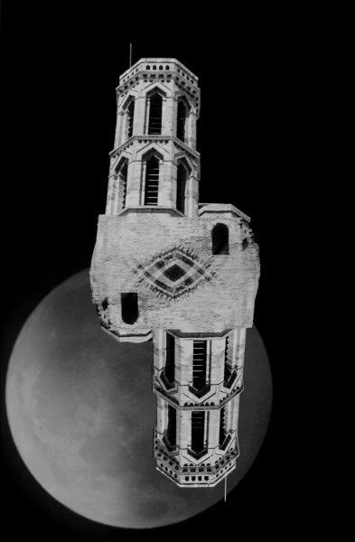 "SL Web by David Allen (""Space Triptych: Split level | Fleet | Tesseract Kazoo"" Moon negatives by Richard Davies)"