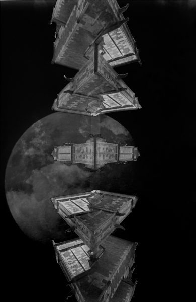 "Fleet Web by David Allen (""Space Triptych: Split level | Fleet | Tesseract Kazoo"" Moon negatives by Richard Davies)"