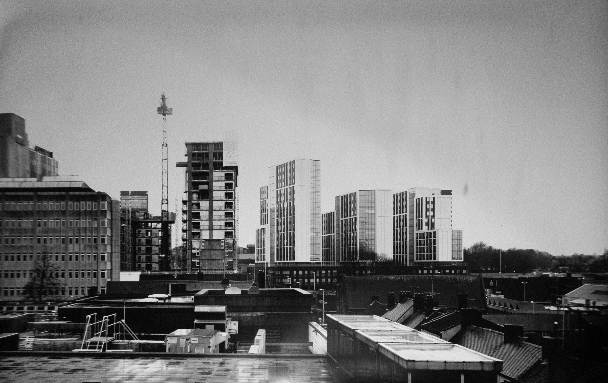 Evolution of a city - Ilford MGRC Paper negative + contact print 3ft x 4ft  - Camera Obscura in 'The Row' Coventry