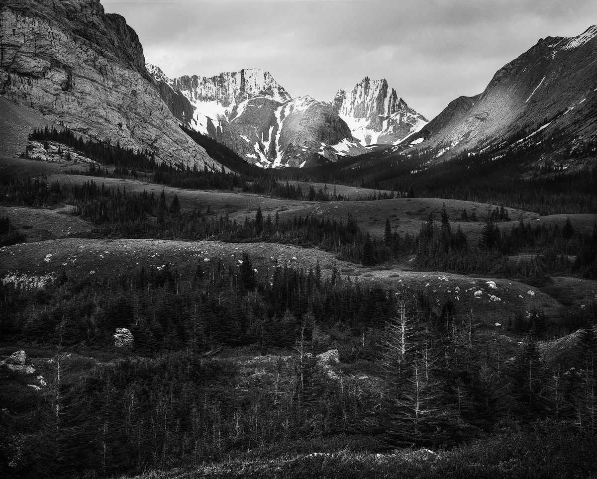 lack and white landscape image of mountains shot on large format FP4+ film by Jeremy Calow