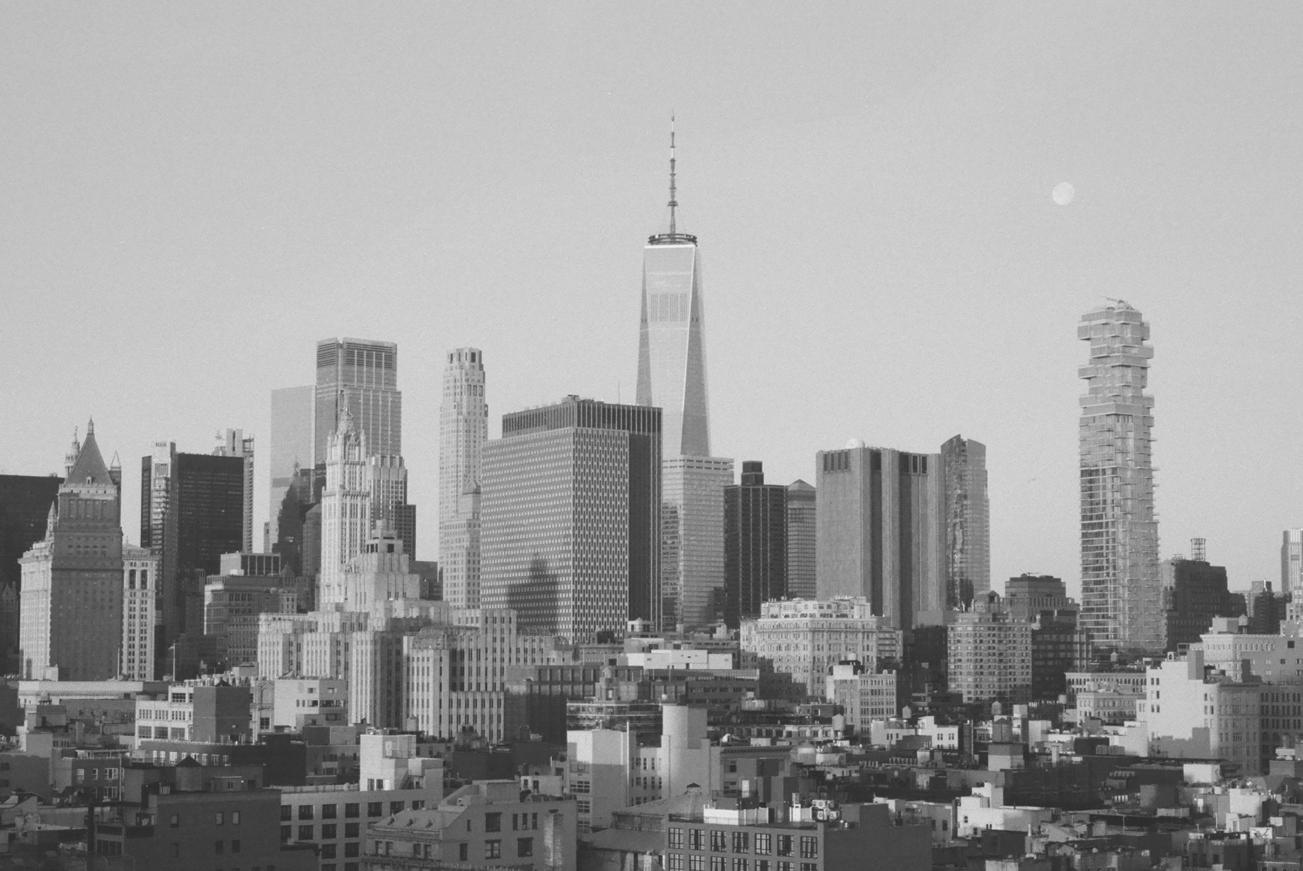 Shot of New York skyline on HP5 Plus black and white film by Louis Kassam