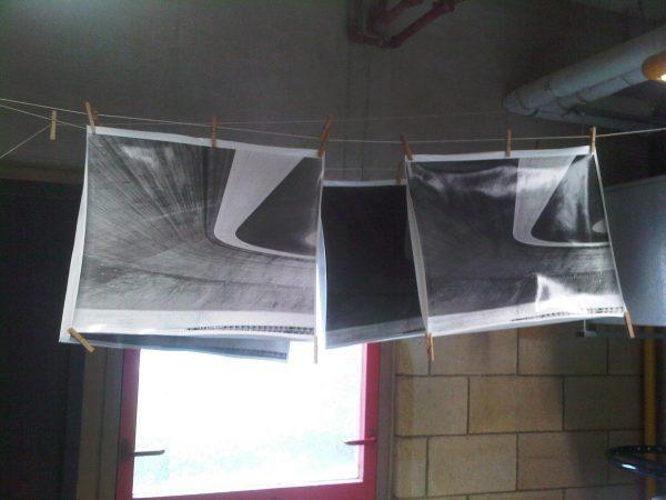 Multigrade prints hanging to dry photographer Matt Ben Stone