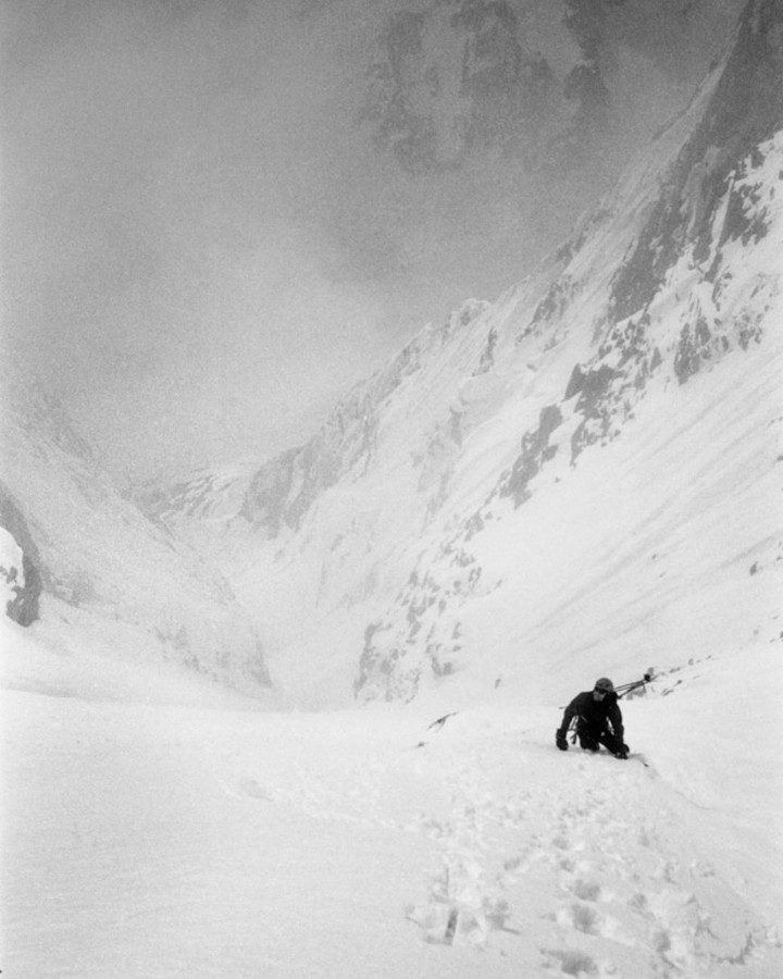 ps_alpine_photo Trevor Hunt on Chatyn-Tau (4412m) SE couloir (1800m, 45-55°+) in Svaneti/Georgia, prior to making the first ski descent. May 2013. Published in The Ski Journal 10/2. Contax T3, Heliopan yellow filter and Ilford FP4+. Hasselblad Flextight X1 scan. #steepskiing #alpinism #firstdescents #caucasus #caucausmountains #georgia?? #sakartvelo #svaneti #contax #contaxt3 #heliopan #ilford #fp4 #analog #film #analogue #stillshootingfilm #fridayfavourites #ilfordphoto #ilfordphoto #fridayfavourites #myfavouritefilm