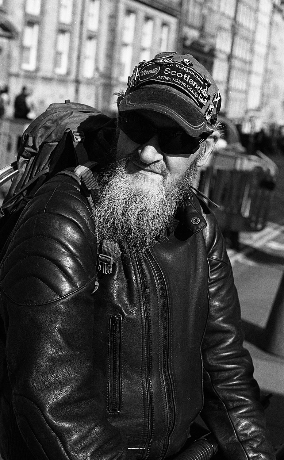 portrait of homeles man in Edinburgh shot on ILFORD black and white film by Keith Moss