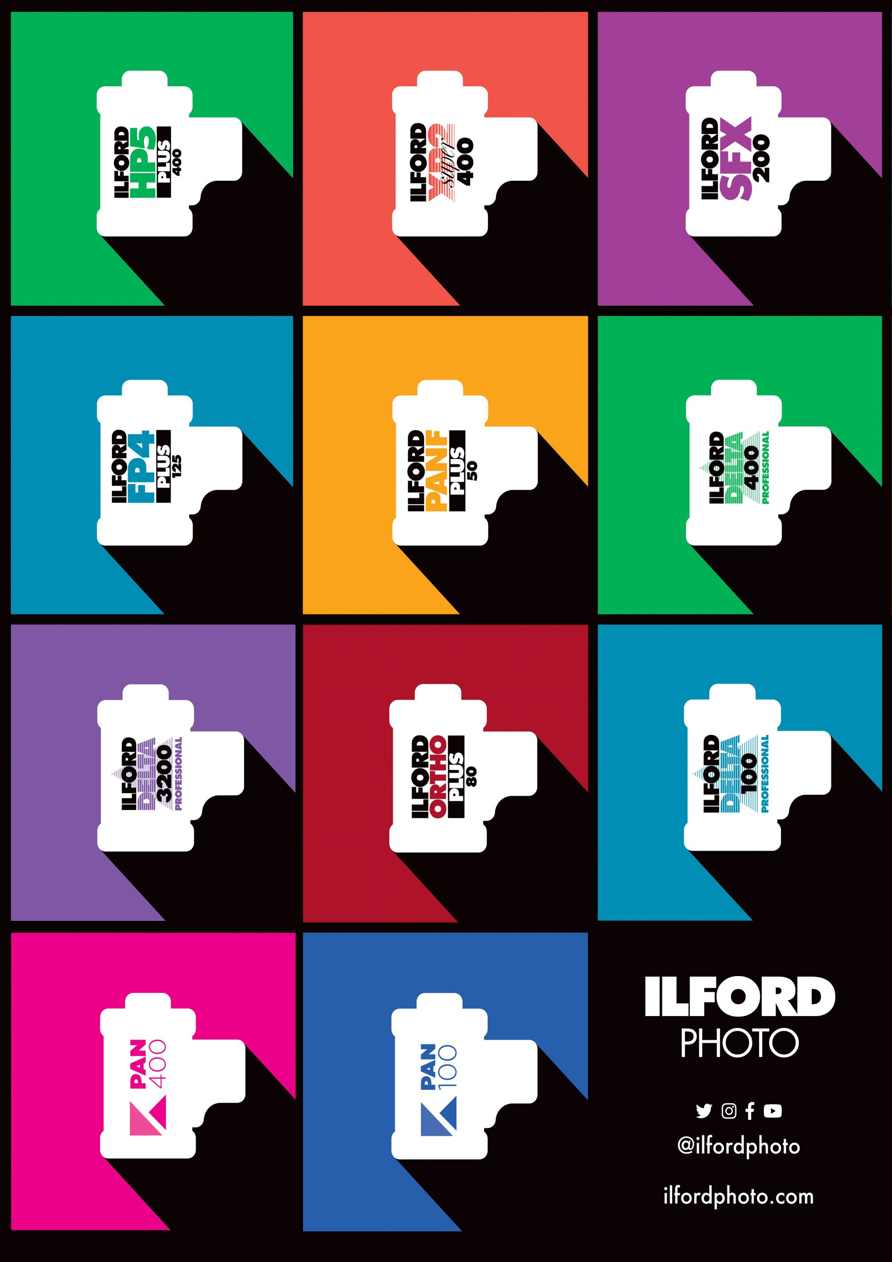 Pop art style poster showing ILFORD black and white film range in 35mm