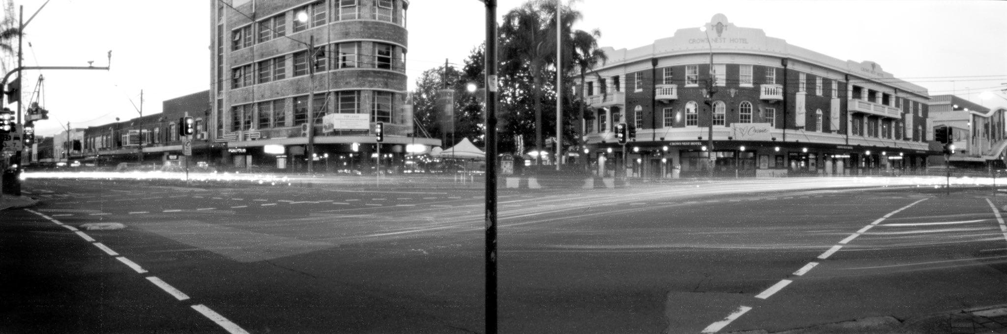 Replying to @ILFORDPhoto Crows Nest Crossroads at Dusk 19min Terrapin Kaiju Pinhole exposure April 2021 #fp4 #ilfordphoto #fridayfavourites #ffpinhole @ILFORDPhoto #ilovesydney #shootfilmbenice #believeinfilm #filmphotography