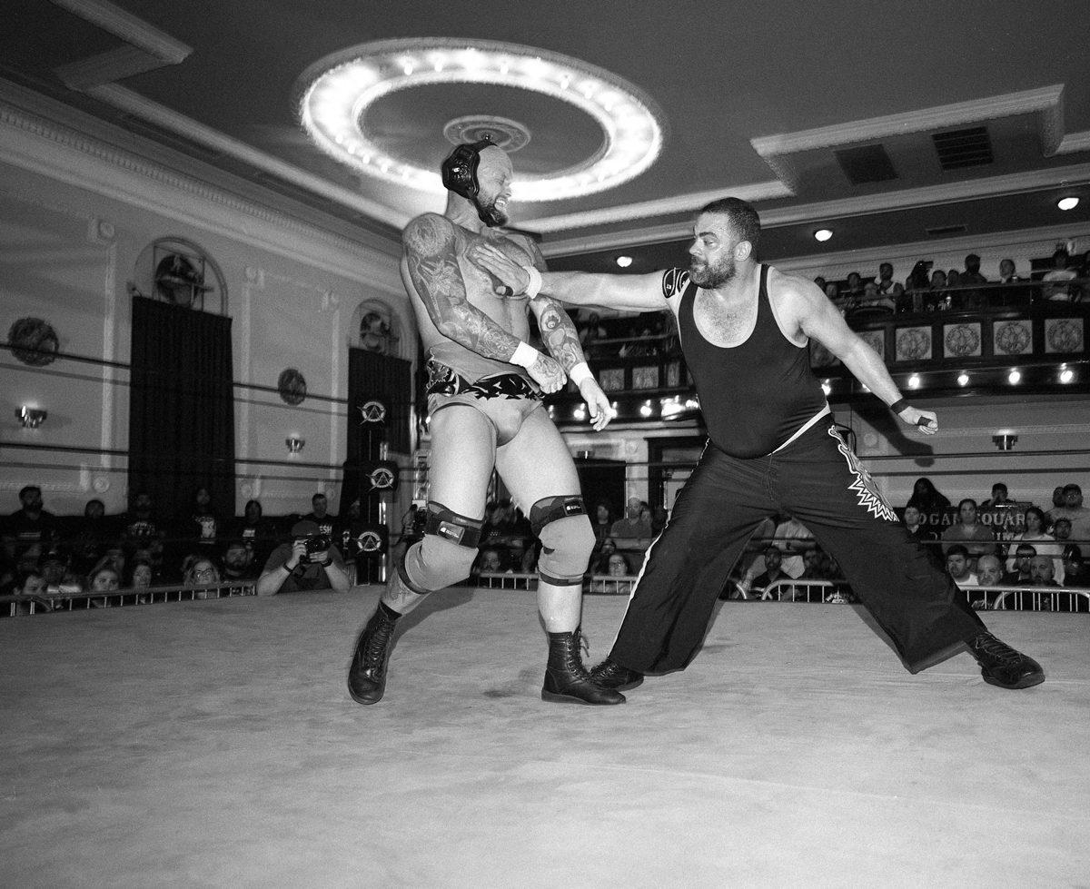 8. Eddie Kingston vs Josh Alexander, 2019. Logan Square Auditorium, Chicago, Ilford Hp5 @ 400. Mamiya 7ii/43mm lens w/ flash. Ilfotec HC.