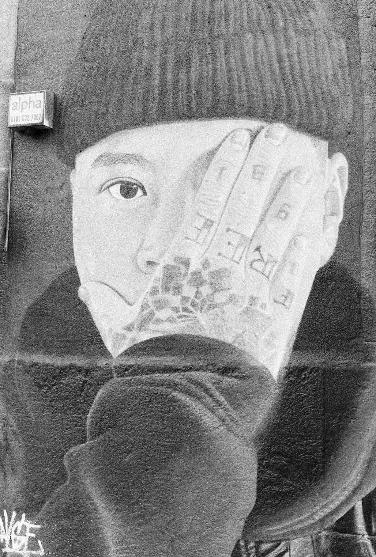 5. Stevenson Square mural (@akse_p19), Northern Quarter – Kentmere 400, Pentax ME
