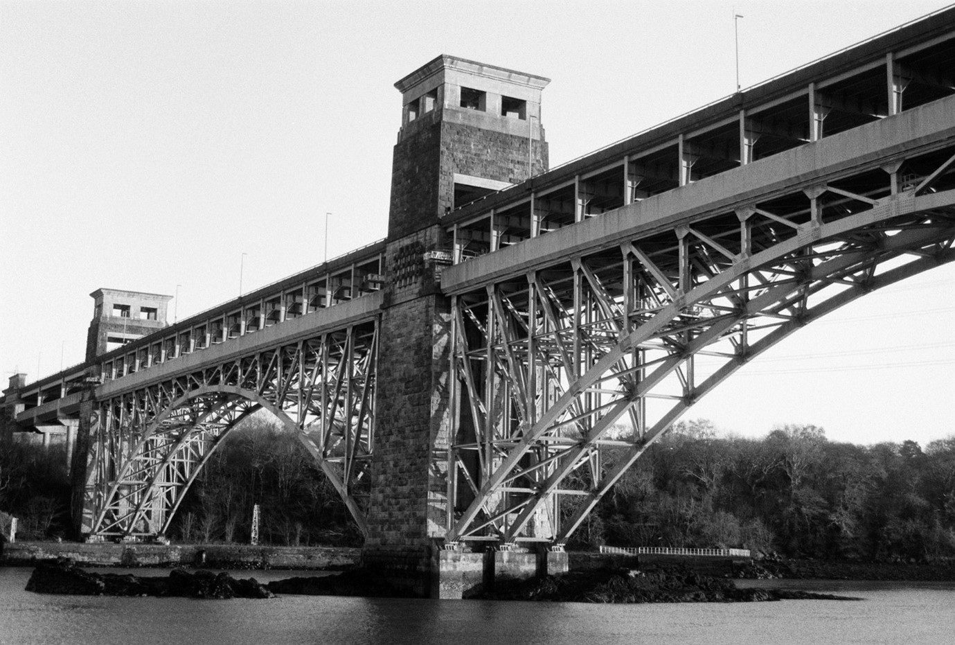 Pont Britannia over the Menai Straits between Anglesey and mainland Wales. Shot on FP4