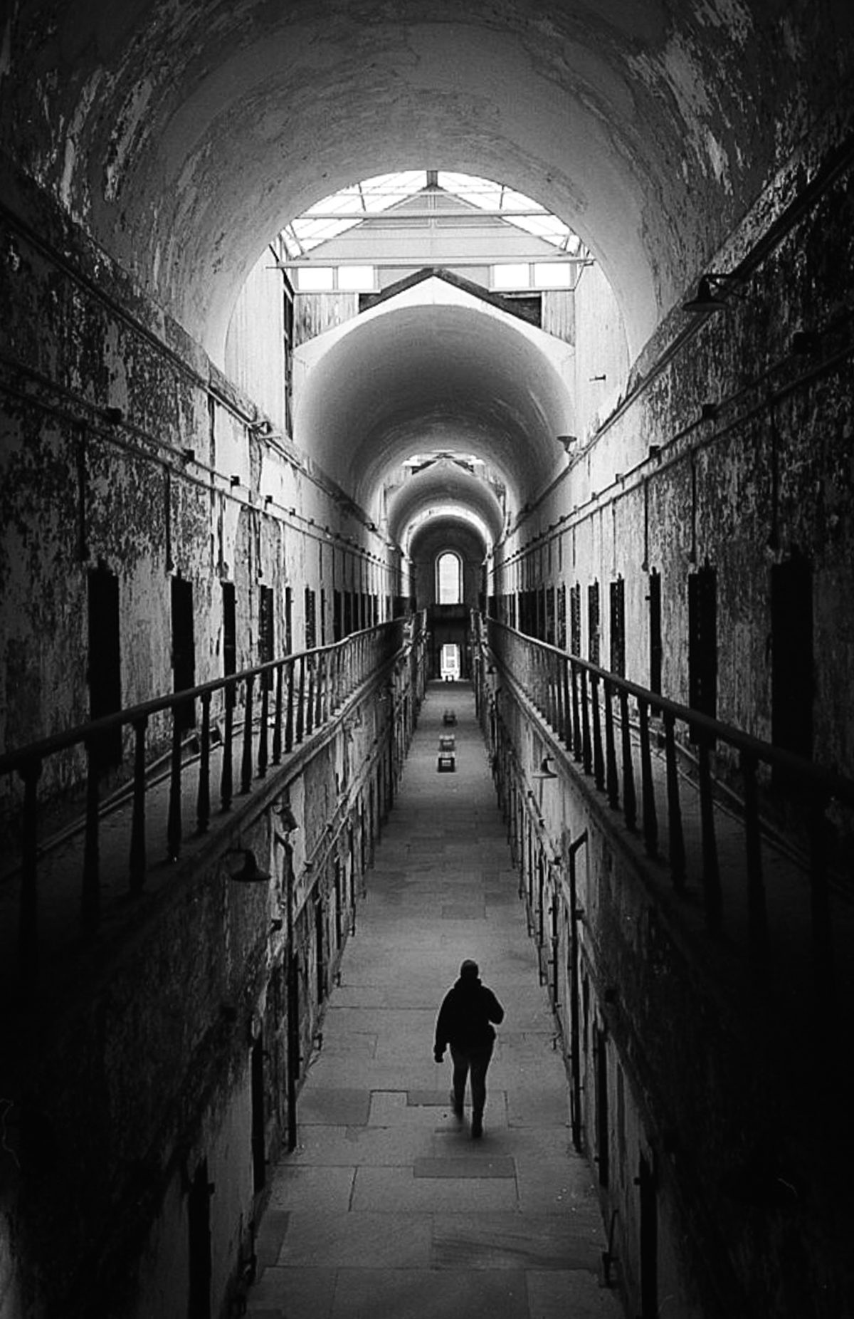 Cell Block 7 is probably the most photographed spot in the prison. The light, arches, and leading lines make it nearly impossible to pass up this photo opportunity. I waited for a person to pass under me to take the photo. Adding the human element I felt helped to tell the story and give a sense of perspective.